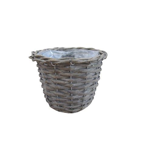 small pots small grey wash round wicker plant pot