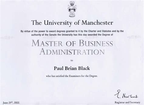 Mba Club Distinction by Paul Black