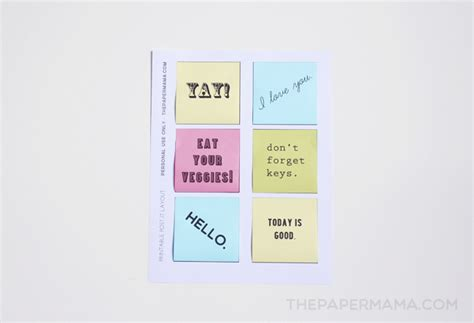 printable post it notes free layout to print and make