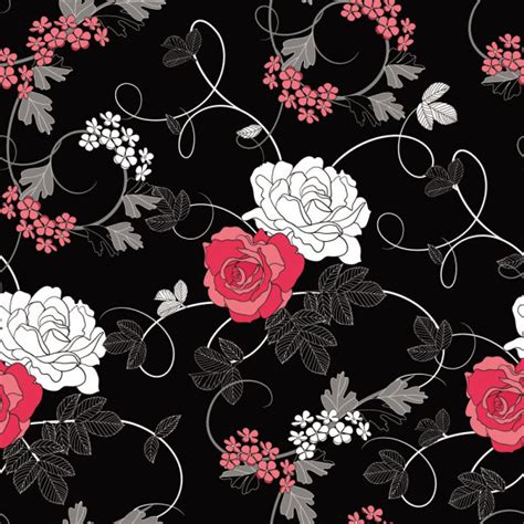 flower pattern on black background 4 designer black background floral pattern 01 vector