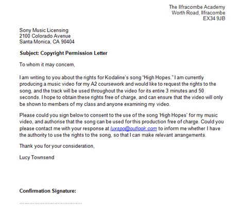 copyright permission letter template copyright permission letter townsend a2 media