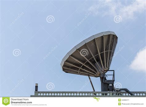 big satellite big satellite dish on the roof stock photo image 54289477