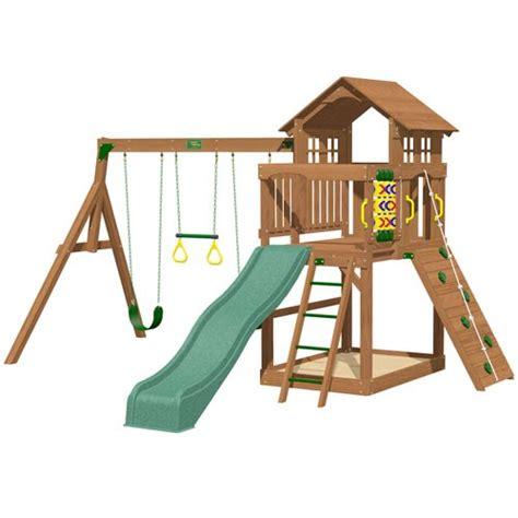 10 ft swing set playtime eagle point swing set with 8 ft green wave slide