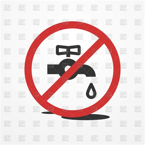 Leaky Kitchen Sink Faucet Stop Water Leak Sign Restrictive Sign With Water Tap And