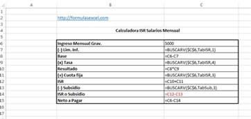 excel para el clculo de impuestos 2016 anual personas fisicas formulas excel para calcular isr de salarios formulas excel