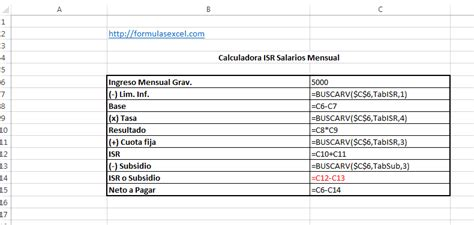 ejemplos calculo anual isr salarios 2015 formulas excel para calcular isr de salarios formulas excel