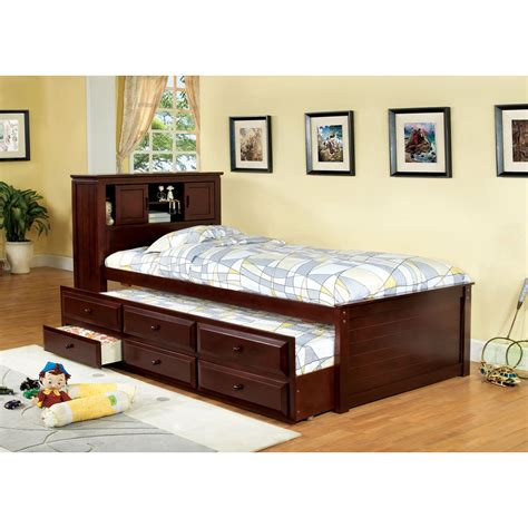 twin bed with drawers and bookcase headboard furniture of america brighton twin bookcase headboard