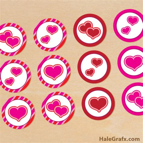 printable heart stickers free free printable valentine s day heart cupcake toppers