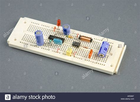 experimental breadboard and carbon composition resistor prototype experimental electronic circuit board breadboard stock photo royalty free image