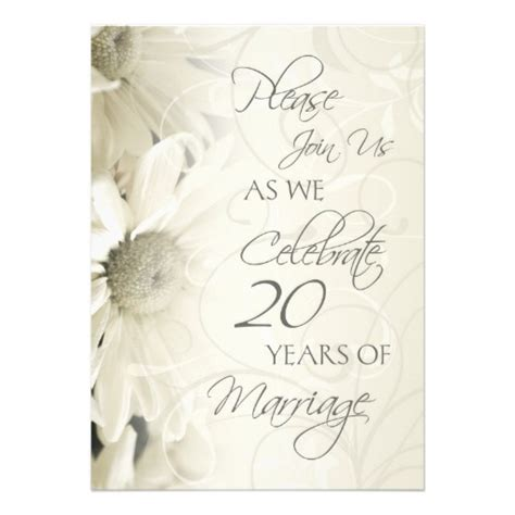 20th wedding anniversary invitation card white flowers 20th wedding anniversary invitations 5 quot x 7