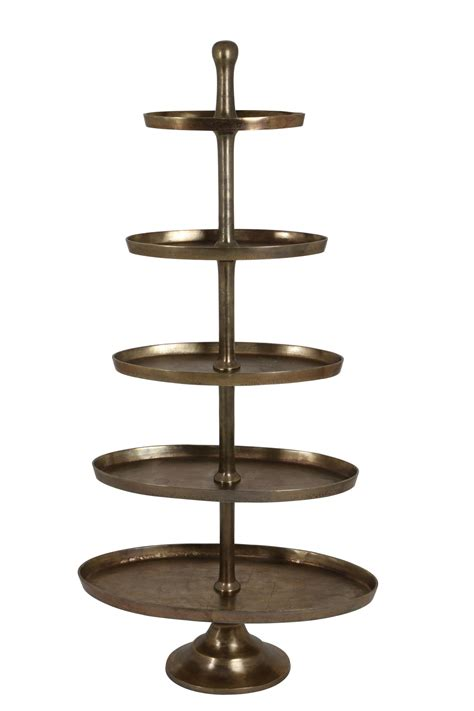 Etagere 5 Etagen by Cakestand 170cm Height Nickel Plated Bronze Gold