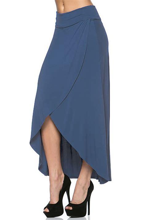 usa s hi low asymmetric hem draped stretch knit maxi