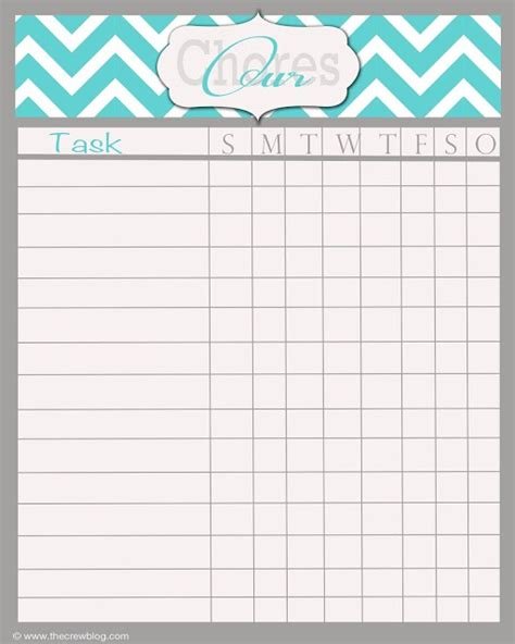 Chore Cards Template by Free Printable Blank Chore Chart Template