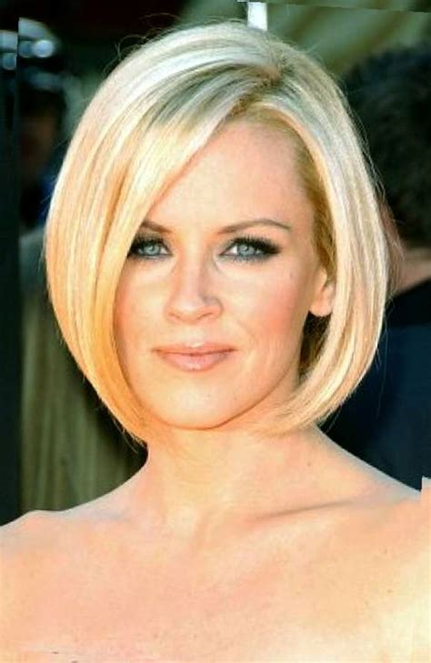 a line bob oval face best short bob hairstyles with side bangs for blonde thin