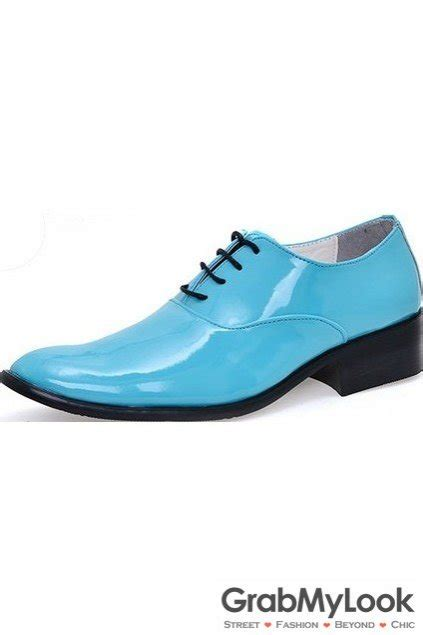 turquoise oxford shoes blue turquoise patent glossy fancy color leather lace up