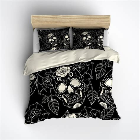 skull bed spread black and cream sugar skull rose duvet bedding sets