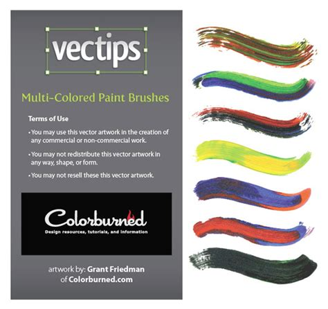 freebie 57 exclusive illustrator multi colored paint brushes vectips
