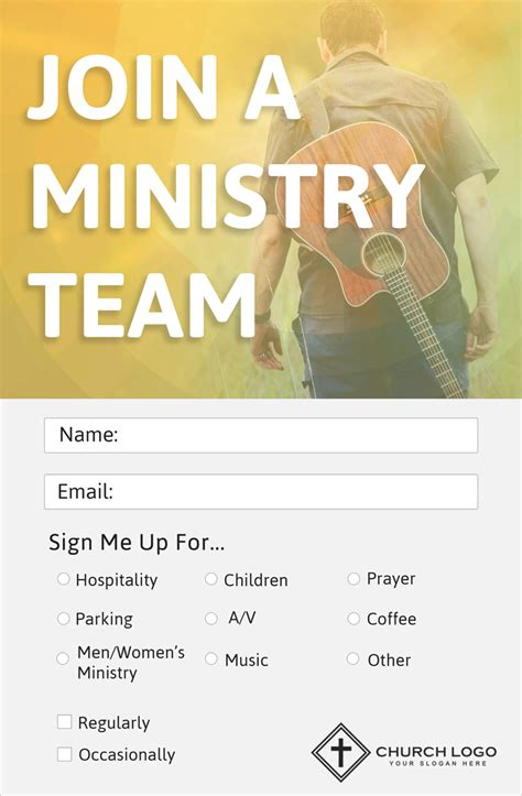church volunteer info card template modern church connection cards 5 free templates
