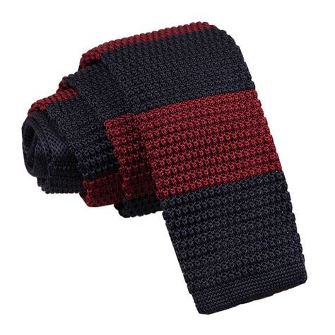 s knitted burgundy navy striped tie