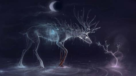 spirite fantasy art deer butterful water image images