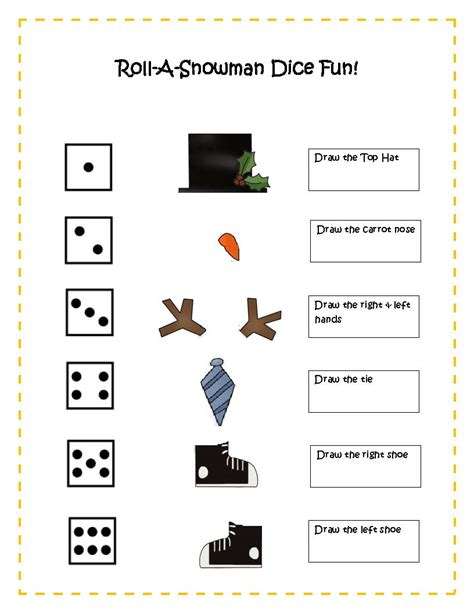 printable snowman dice game 6 best images of roll a snowman dice game printable roll