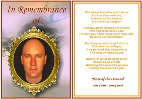 free printable memorial card template 8 best images of free printable funeral cards free