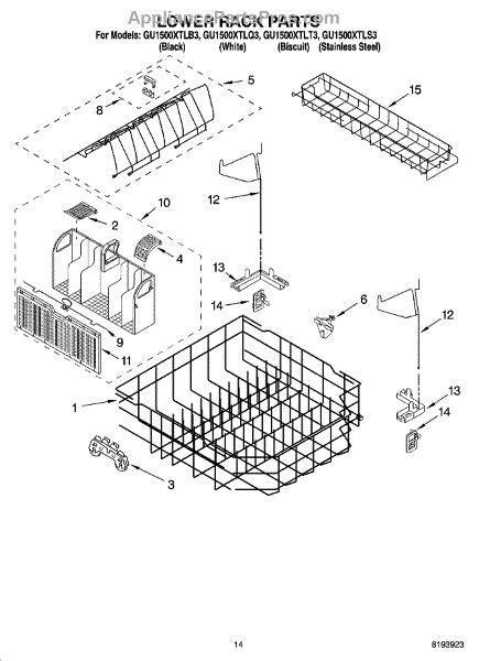 whirlpool dishwasher rack parts parts for whirlpool gu1500xtlt3 lower rack parts appliancepartspros com