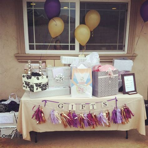 bridal shower table gift table purple and gold bridal shower bridal shower