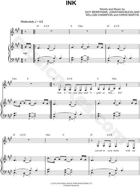 coldplay ink chord coldplay quot ink quot sheet music in a major transposable
