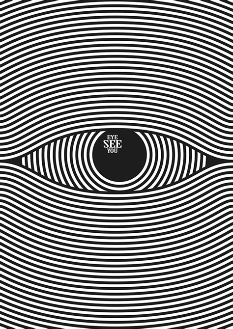 black and white pattern in vision eye see you poster design on behance