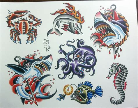 tattoo flash sheets nautical ii traditional flash sheet