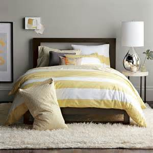 yellow striped duvet grey walls master or guest