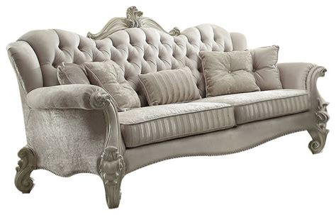 white victorian couch versailles velvet sofa with 5 pillows ivory and bone