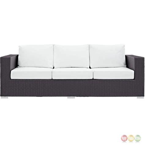 white rattan sofa convene modular rattan outdoor patio sofa w cushions