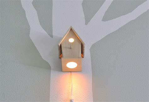woodland nursery light fixture bird house night light by modern treetop baby illuminates