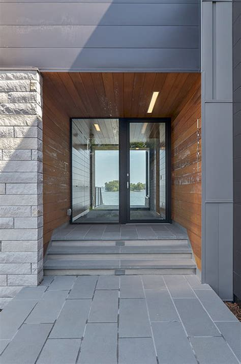 Foyer Entrance Ideas Glass Lake House Features Modern Silhouette Of Earthy