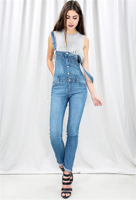 Button Overall button denim overalls shop sale at papaya clothing