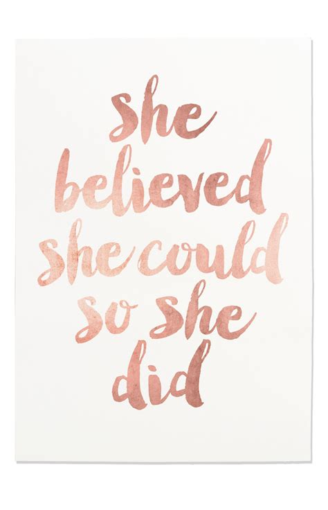 printable a4 quotes inspirational print she believed she could so she