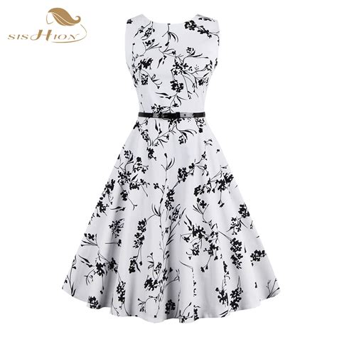 Sy1glsab74 Simple Casual Black White Dress Size S Size M Size L s 4xl plus size summer dress white and black floral vintage dress 50s 60s rockabilly swing