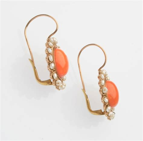 edwardian coral pearl and gold earrings at 1stdibs