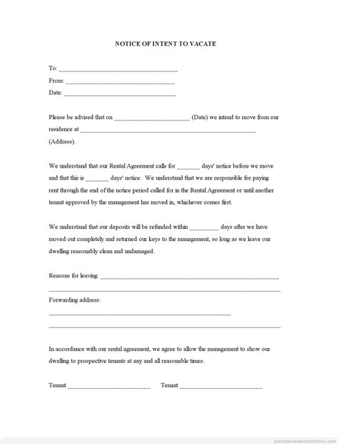 intent to vacate letter template sle letter intent to vacate sle business letter