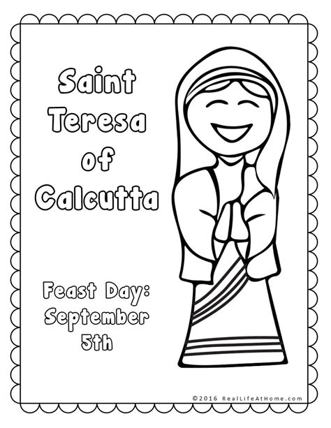 mother teresa free colouring pages