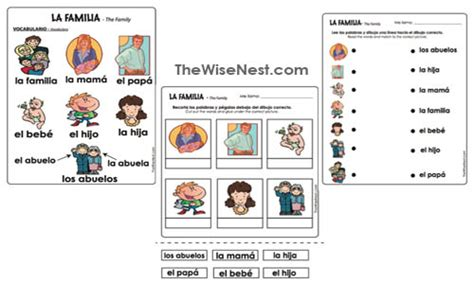La Familia Worksheets by La Familia The Wise Nest