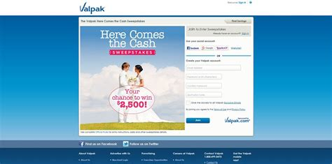 Cash Sweepstakes 2014 - valpak com bride valpak here comes the cash sweepstakes