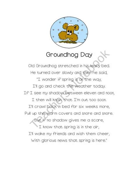 groundhog day poem groundhog day poems with emergent readers product from