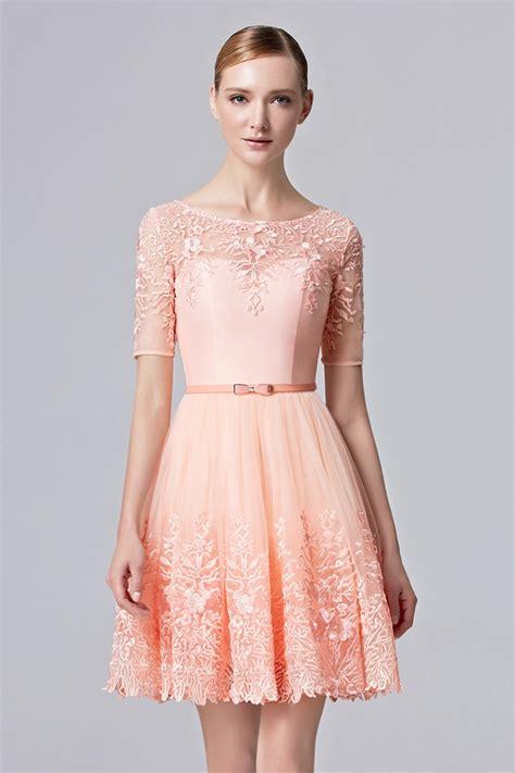 light pink cocktail dress prom dresses light pink half sleeve