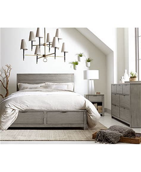 Tribeca Grey Storage Platform Bedroom Furniture Collection Macys Bedroom Set