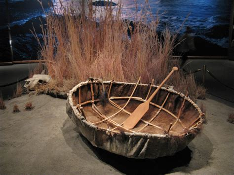 boat made of skins cow skin boat under one of the legs of the arch is a