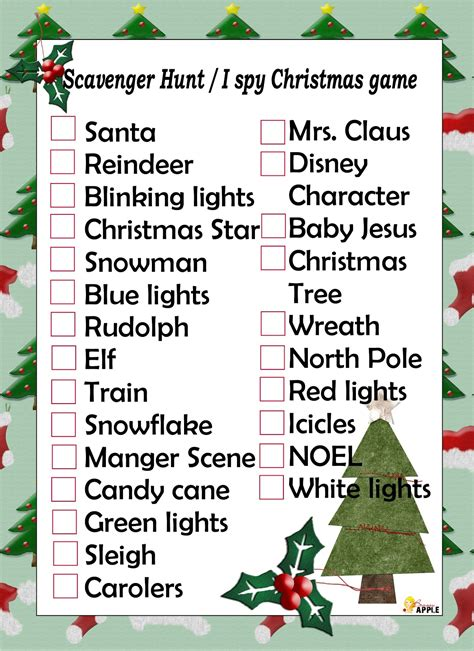 free printable holiday scavenger list