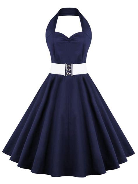 Retro Dress vintage dresses purplish blue 3xl retro halter